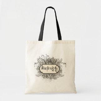 Om Mani Padme Hum Floral Tote Bag