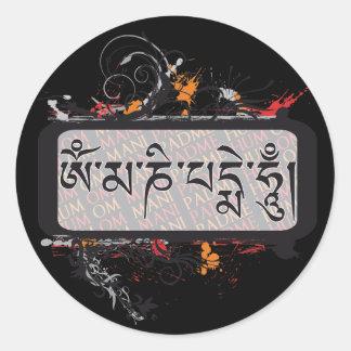Om Mani Padme Hum Grubge Classic Round Sticker