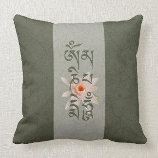 Om Mani Padme Hum Lotus - Blue-green Throw Pillow