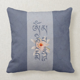 Om Mani Padme Hum Lotus - Blue Throw Pillow
