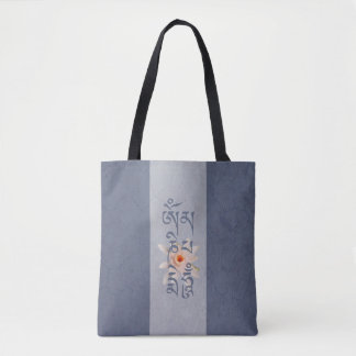 Om Mani Padme Hum Lotus - Blue Tote Bag