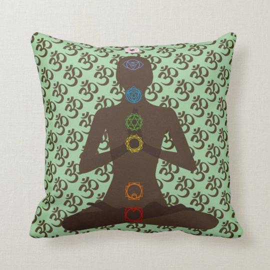 Om Mantra 7 Chakras Yoga Design Throw Pillow
