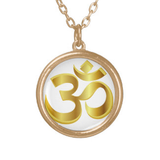 om, mantra om gold plated necklace