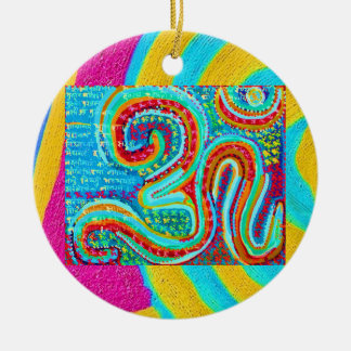 Om Mantra - Om written 108 times Ceramic Ornament
