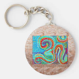 OM Mantra on Golden Jewel Base Art Basic Round Button Keychain