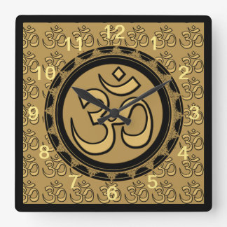 Om Meditation Gold Wall Clock Square