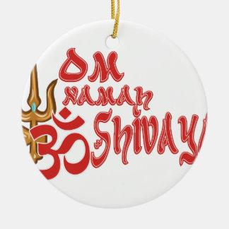 Om Namah Shivaya Round Ceramic Ornament