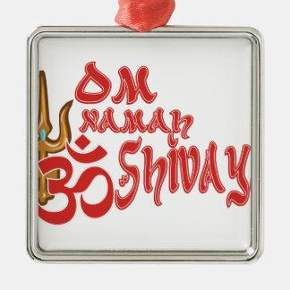 Om Namah Shivaya Silver-Colored Square Ornament