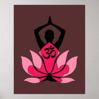 OM Namaste Spiritual Lotus Flower Yoga in Umber Poster