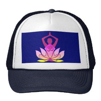 OM Namaste Spiritual Lotus Flower Yoga on Blue Trucker Hat