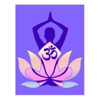 OM Namaste Spiritual Lotus Flower Yoga on Mauve Postcard