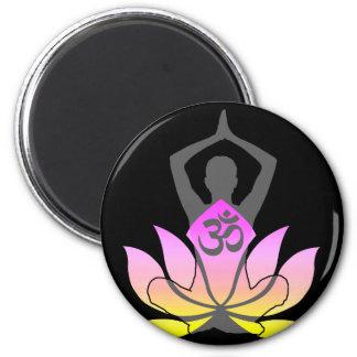 OM Namaste Spiritual Lotus Flower Yoga Pose 2 Inch Round Magnet