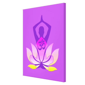 OM Namaste Spiritual Lotus Flower Yoga Pose Stretched Canvas Print