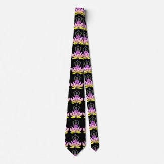 OM Namaste Spiritual Lotus Flower Yoga Pose Tie