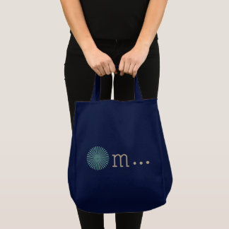 Om navy blue tote bag