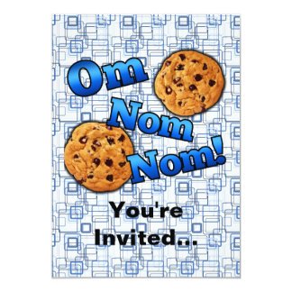 "Om Nom Nom, Meme Love Cookies 5"" X 7"" Invitation Card"