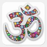 Om Ohm Aum Namaste Yoga Symbol Square Sticker