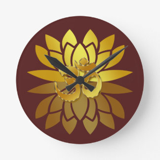 OM Omkara and Gold Colored Lotus Flower Clocks
