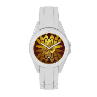 OM Omkara and Gold Colored Lotus Flower Watches