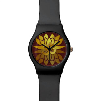 OM Omkara and Gold Colored Lotus Flower Wristwatches