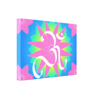 OM on lotus Stretched Canvas Print