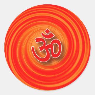 Om On Twirl Background Classic Round Sticker