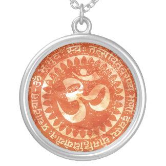 om orange silver plated necklace