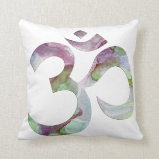 OM pillow in plum, green and silver