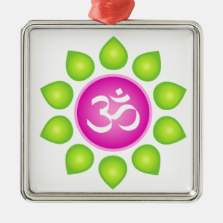 Om Power Silver-Colored Square Ornament
