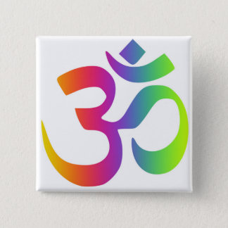 Om Rainbow Symbol Yoga Meditation 2 Inch Square Button