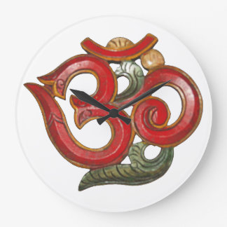 OM red green clock - time for peace & meditation