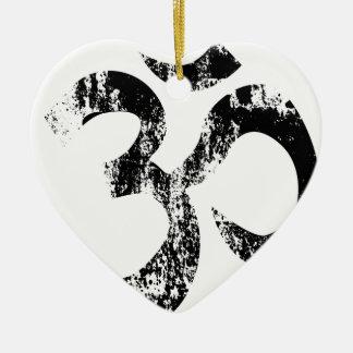 Om Rubber SDtamp Ceramic Heart Ornament