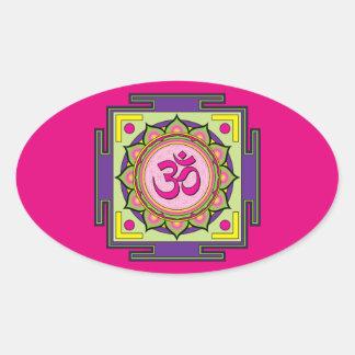 Om Shanti Om Mandala Oval Sticker