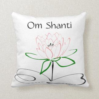 Om Shanti Pink Green Lotus Pillow