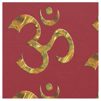 Om Sign gold + your background Fabric