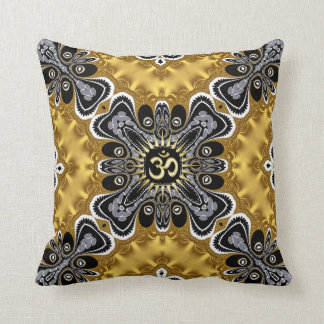Om Spritiual Art Gold Splash Cushion