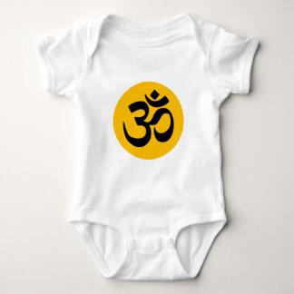 Om Symbol, black circle with gold Baby Bodysuit