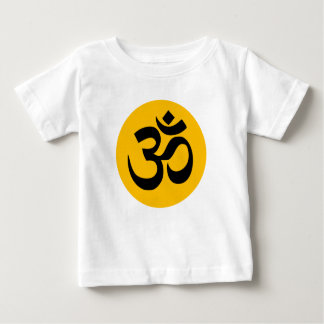 Om Symbol, black circle with gold Baby T-Shirt