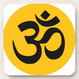 Om Symbol, black circle with gold Coaster