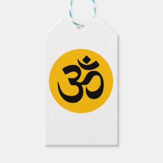 Om Symbol, black circle with gold Gift Tags
