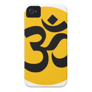 Om Symbol, black circle with gold iPhone 4 Case-Mate Cases