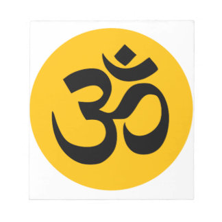 Om Symbol, black circle with gold Notepad
