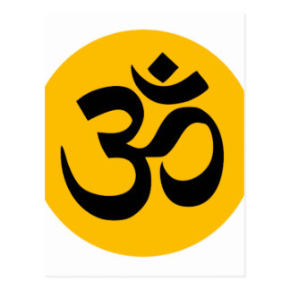 Om Symbol, black circle with gold Postcard