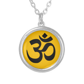 Om Symbol, black circle with gold Silver Plated Necklace