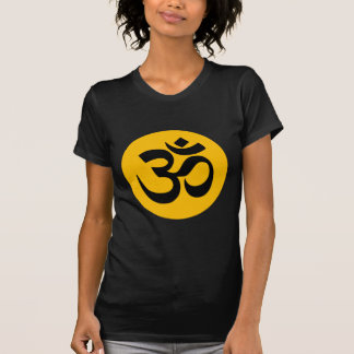 Om Symbol, black circle with gold T-Shirt