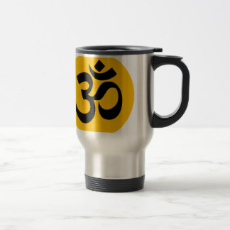 Om Symbol, black circle with gold Travel Mug