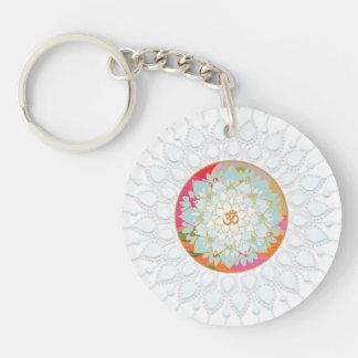 OM Symbol Colorful Lotus Flower Mandala Chakra Double-Sided Round Acrylic Keychain