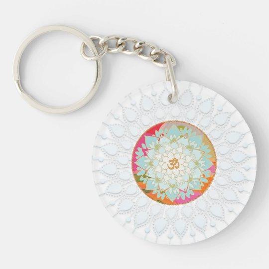 OM Symbol Colourful Lotus Flower Mandala Chakra Double-Sided Round Acrylic Keychain