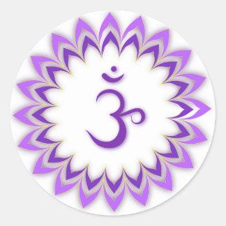 Om Symbol / Crown Chakra Round Sticker