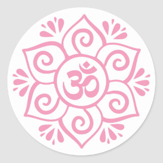 Om symbol in lotus petal mandala round sticker